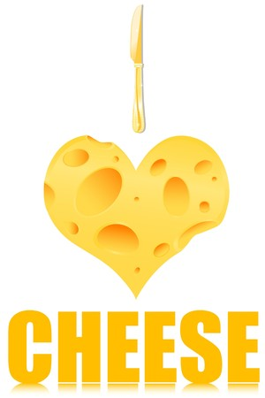 illustration of i love cheese with a piece of heart shape cheese and a knife illustration