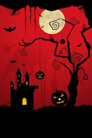 illustration of dark scary halloween night illustration