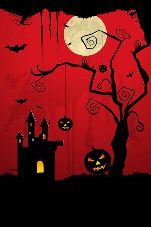 illustration of dark scary halloween night illustration