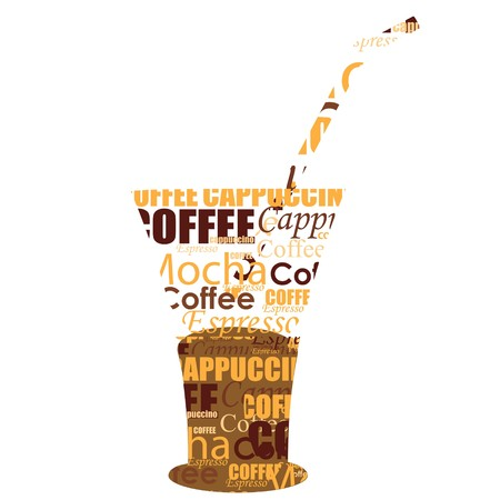 illustration of typography coffee glass on isolated background illustration