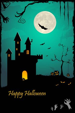 illustration of halloween night with haunted castle and bat flying illustration