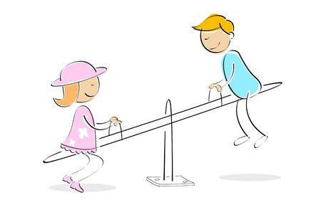 illustration of kids taking ride on seesaw against white background Stock Illustration - 7822727