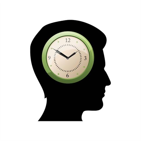 sillhouette: sillhouette of man thinking of time
