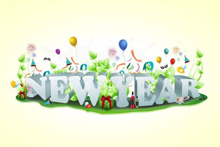 year january: illustration of new year text with all celebration elements Stock Photo