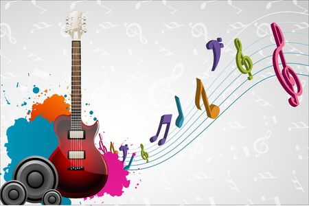 illustration of guitar with musical notes on abstract musical background illustration