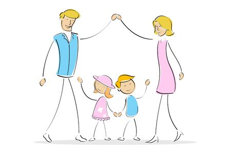 illustration of mother and father forming home with their hand and kids inside the home Stock Illustration - 7882543