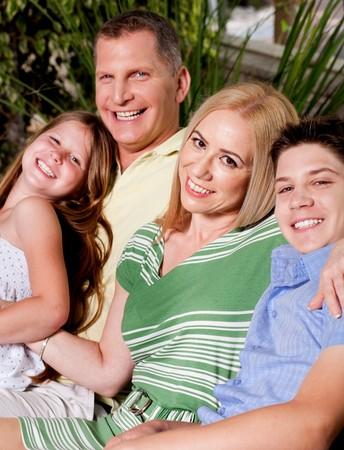 Portrait of family enjoying outdoors photo