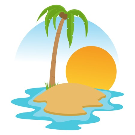 scenarios: illustration of   beach landscape with palm tree and sunset background