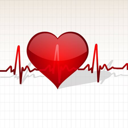 pulse: illustration of life line crossing heart on checked background Stock Photo