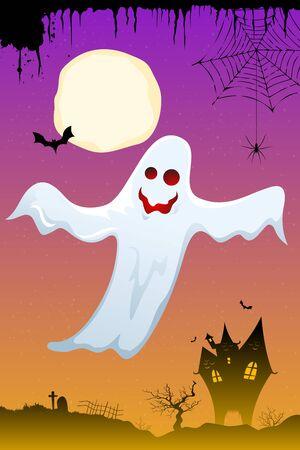 illustration of halloween ghost flying in dark sky illustration