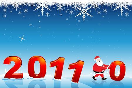 shifting: illustration of santa claus shifting 0 fro 2010 to make it 2011