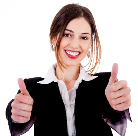 Close up view of Business women showing thumbs up on a isolated white background photo