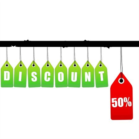 illustration of   discount tags hanging on isolated background