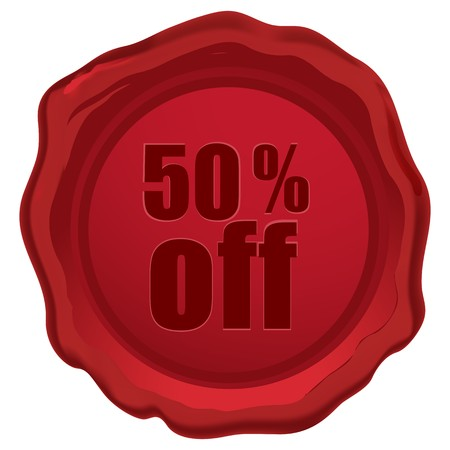 illustration of 50 % off  text engraved in wax seal on an isolated background illustration