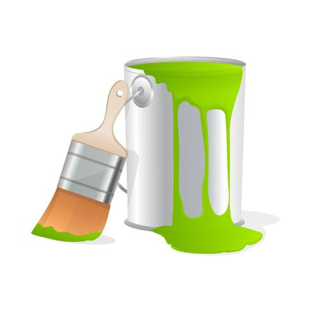 paint container: illustration of paint bucket with paint brush on isolated white background Stock Photo