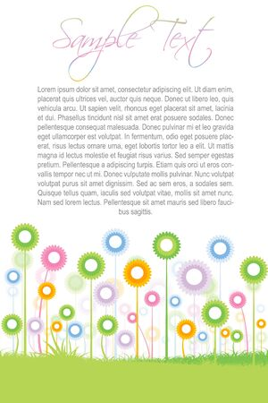 illustration of text template with colorful flowers Stock Illustration - 8017959