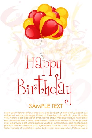 sample text: illustration of birthday card with bunch of balloon and text template