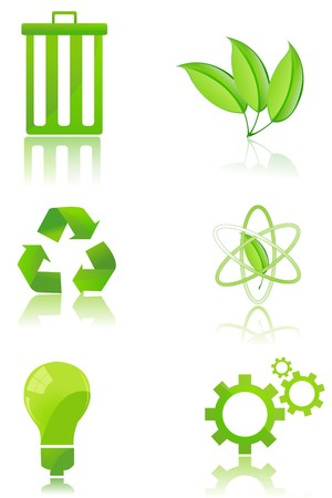 illustration of set of recycle icons on isolated background