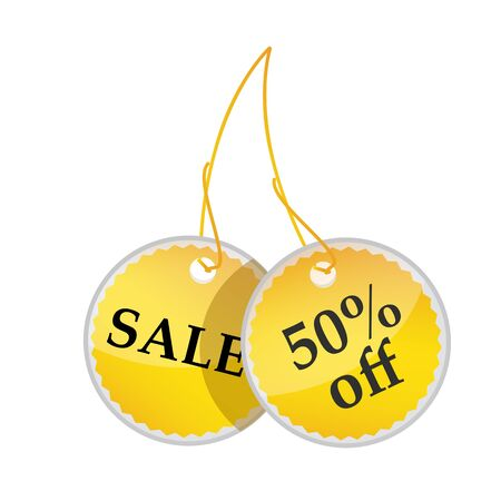 illustration of tags with sale and 50% off text on white background Stock Illustration - 8017940