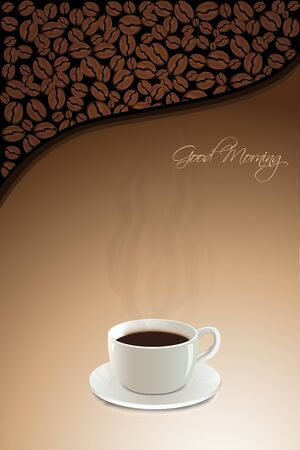 illustration of hot coffee with coffee beans and good morning text illustration
