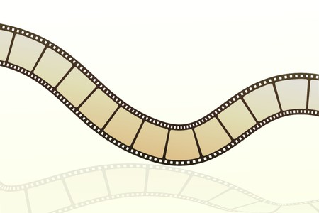 35mm film motion picture camera: illustration of vector film strip on isolated background