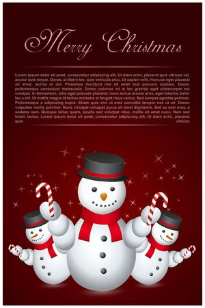 illustration of snow men with hat and stick with text template illustration