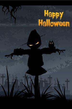 illustration of halloween scarecrow standing at dark night illustration