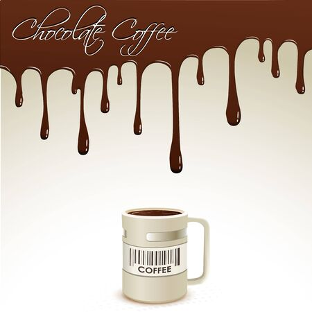 dripping chocolate: illustration of coffee mug with dripping chocolate at the backdrop Stock Photo