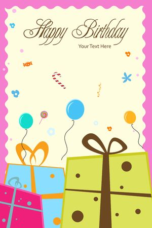 illustration of birthday card with gift boxes,balloons and happy birthday text Stock Illustration - 8018035
