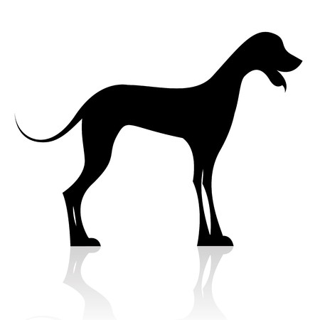 illustration of black dog silhouette on isolated background illustration