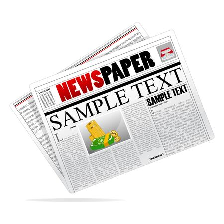an article: illustration of newspaper on isolated background