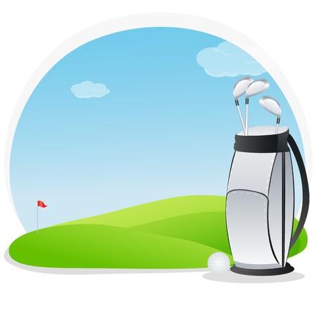 illustration of golf kit in golf course illustration