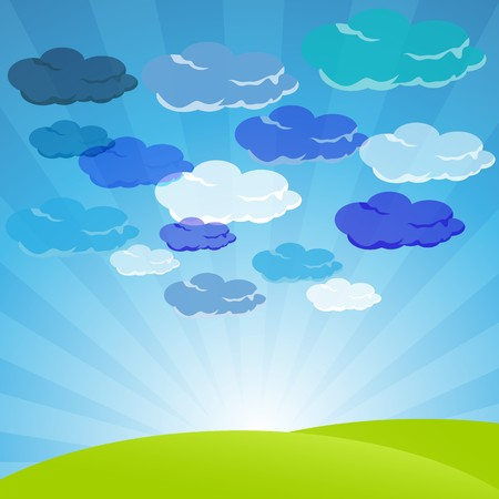 illustration of clouds in sky with landscape Stock Illustration - 8017999