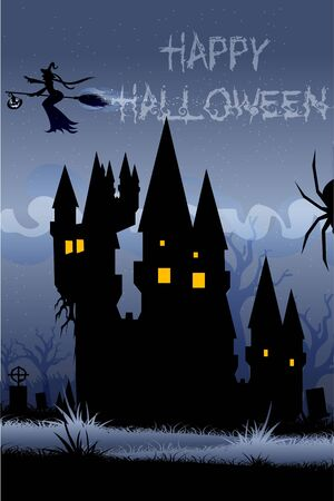 illustration of haunted house in halloween night illustration