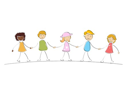 illustration of multi racial kids holding hands on isolated background illustration