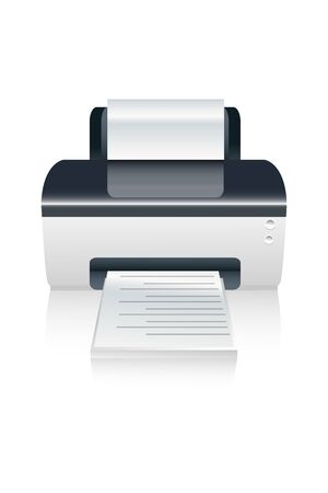 toner: illustration of  color printer device on isolated background