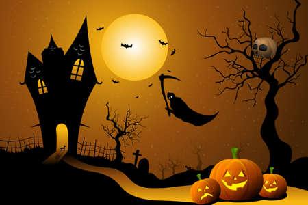 illustration of ghost flying in halloween night illustration