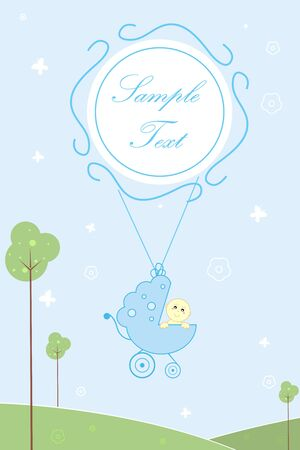 illustration of baby arrival card with baby in pram and sample text illustration