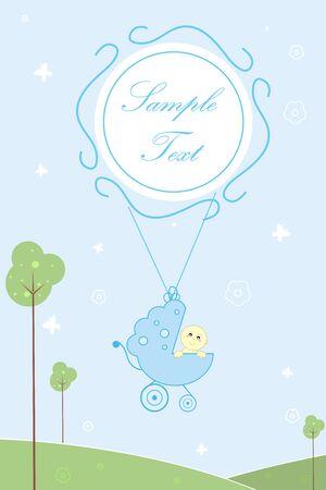 sample text: Ilustraci�n de la tarjeta de la llegada de beb� con el beb� en cochecito y muestra el texto  Foto de archivo