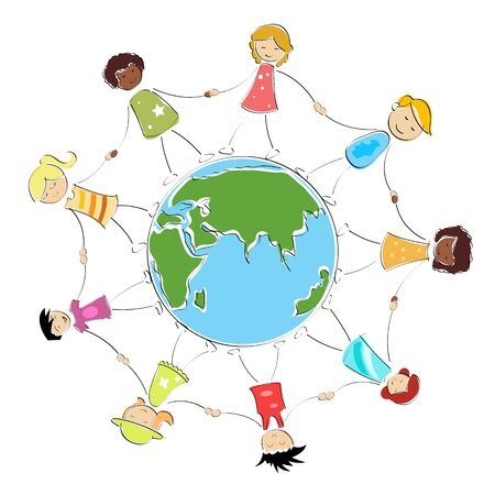 multiracial happy kids holding their hands around the globe  illustration