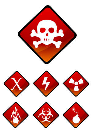 illustration of set of warning sign icons Stock Illustration - 8112505