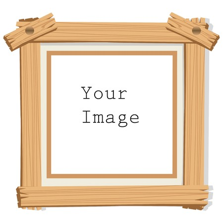 creative pictures: illustration of wooden photo frame on white isolated background