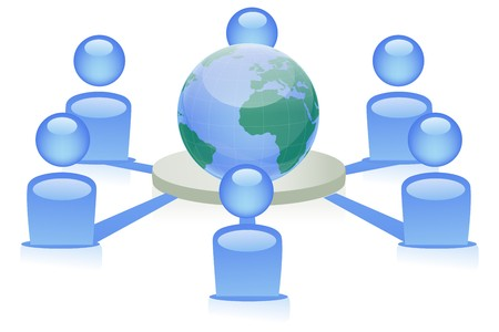illustration of people from around the world connecting to form social networking Stock Illustration - 8112474