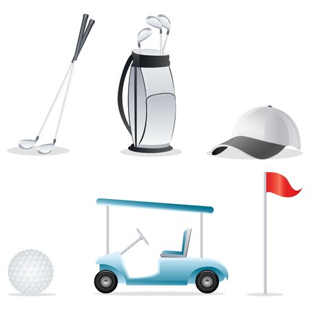 illustration of golf elements on an isolated background illustration