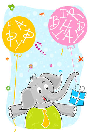 illustration of elephant with birthday balloon and gift Stock Illustration - 8112556