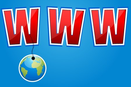 wehosting: illustration of www with hanging globe Stock Photo