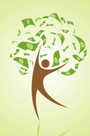 illustration of money tree with human as stem illustration