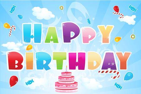 Illustration du texte de Joyeux anniversaire et �l�ments anniversaire