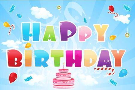 illustration of happy birthday text and birthday elements Stock Illustration - 8112562