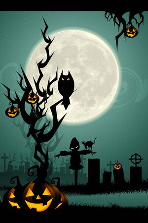 illustration of halloween night in graveyard with glowing pumpkin and bat illustration